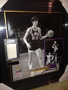"""Pistol"" Pete Maravich Hand Signed LSU Masterpiece Collage"