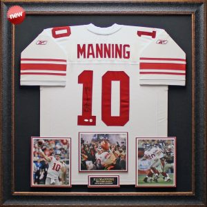 Eli Manning Hand Signed and Framed Official Game Issue Giants Jersey