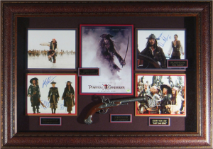 Pirates of the Caribbean Cast Signed Masterpiece Collage with Framed in Pirate Gun